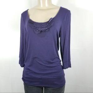 NWT BANANA REPUBLIC Purple Ruffle Neck Top Medium